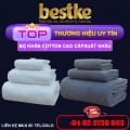 02 Bộ 6 Khăn Cotton Bestke, cotton towels white, dark blue
